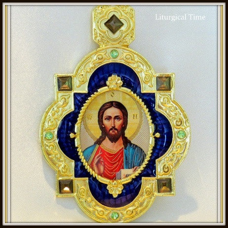 Christ The Teacher Framed Icon Pendant With Chain  - PDT2