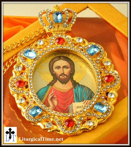 Christ The Teacher Jeweled Faberge Style Icon Pendant - PDT7