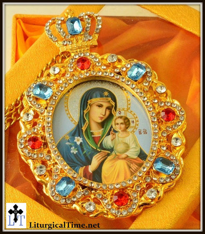 Virgin Mary Eternal Bloom Jeweled Faberge Inspired Icon Pendant  - PDT8