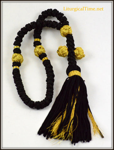 Chotki ~ Prayer Rope50 Knot Flush Black & Gold Prayer Rope~ From Greece