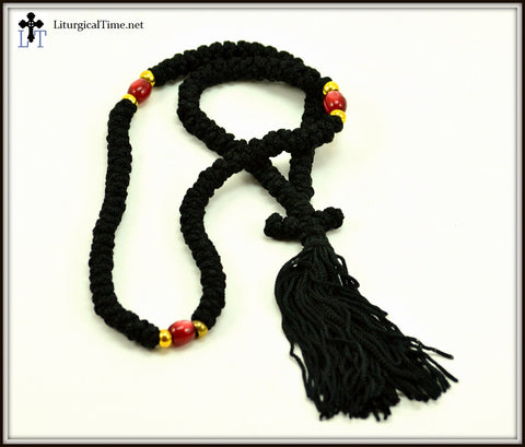 Orthodox Prayer Rope ~ 100 Knot Flush Black Prayer Rope ~ From Greece - PR5r