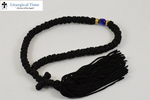 Prayer Rope ~ 50 Knot Black Prayer Rope ~ Made in Greece - PR7b