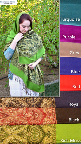 Prayer Shawl Orthodox Headcovering Pashmina Wrap - PSH2 ~ Viscose Shawl Religious Head Covering Church Scarf