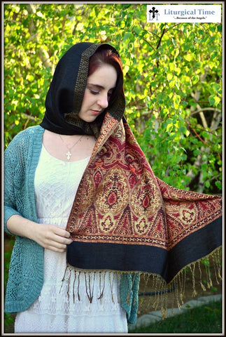 Prayer Shawl Orthodox Headcovering Pashmina Wrap - PSH2black ~ Viscose Shawl Religious Head Covering Church Scarf