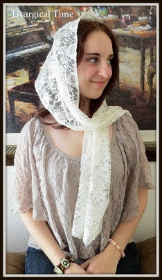 Chapel Veil ~ Rectangular headcovering in Ivory ~ RCV1