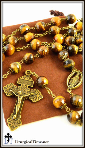 Genuine Stone Rosary ~ Handmade ~ Tiger Eye Rosary with faceted beads ~ Bronze Tone - RSY11