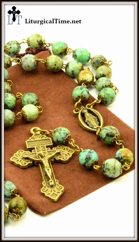 Genuine Stone Rosary ~ Handmade ~ African Turquoise Rosary ~ Bronze Tone - RSY13