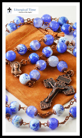 Copy of Genuine Stone Rosary ~ Handmade ~ Light Blue Fire Agate Rosary Copper Tone - Faceted~ RSY14FCT