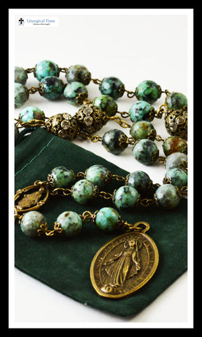 Genuine Stone Rosary ~ Handmade ~ Seven Sorrows Rosary ~ African Turquoise and Bronze Tone - RSY15