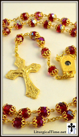 Rosary ~ Double Capped Red Iridescent Glass Golden Rosary ~ RSY2