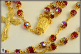 70% OFF! ~Rosary ~ Double Capped Red Iridescent Glass Golden Rosary ~ RSY2