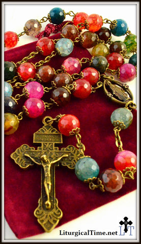 Genuine Stone Rosary ~ Handmade ~ Colorful Agate and Bronze Tone - RSY8