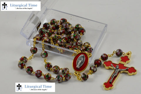 70%  OFF! ~ Rosary ~ Red Cloisonne Bead Rosary