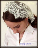 Christian Headcovering SCT15 - Headband Headscarf with Ties in Soft and Lovely Ivory Chantilly with Velvet Ties