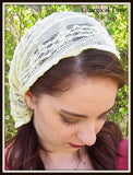 Christian Headcovering SCT19 - Yellow Stretch Lace Headband Headscarf with Ties