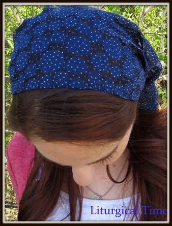 Christian Headcovering SCT21 - Headband Headscarf with Ties in Navy