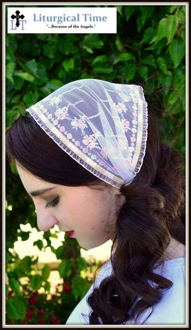 FLASH SALE ! ~ Church Head Scarf~ SCT29 - Headcovering Headband with ties in Pink Shabby Chic Shades, Embroidered with Ruffled Edges
