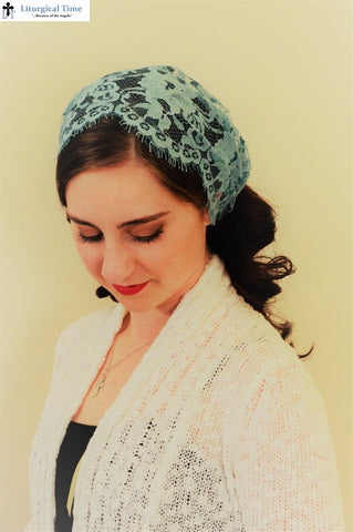Christian Headcovering -- in vintage soft teal eyelash Chantilly.