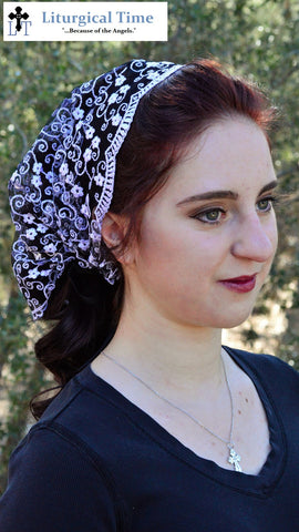 Christian Head Covering SCT35 - Headband Headscarf with Ties, in Stunning Black and White Embroidered Lace