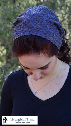Purple Head Cover - SCT36 - Plum Stretch lace Christian Headcovering Headband Headscarf with Ties