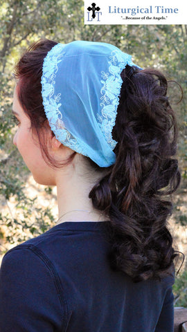 Church Head Scarf SCT37 - Headband Headcovering with Ties in Embroidered Stretch Lace