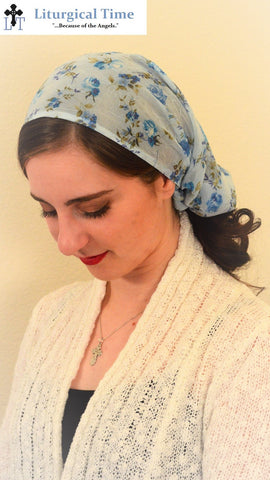 Head Cover - SCT39 - Light Blue Christian Headcovering Headband Headscarf with Ties