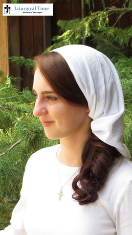 Copy of Women Coverings SCT41w - Christian Headcovering Headband Headscarf with Ties in White