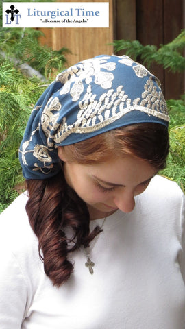Copy of Christian Headcovering SCT42db - Lace Veil Christian Headcovering with Ties in Dusty Blue with Gold Embroidery