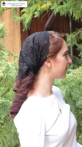 Christian Headcovering SCT43 - Lace Veil Christian Headcovering with Ties in Soft Black Lace