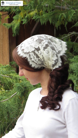 Christian Headcovering SCT44 - Lace Veil Christian Headcovering with Ties in Candlelight Ivory Leaver's Lace