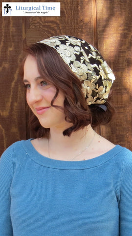 Head Cover - SCT49 - Embroiered Gold Floral on Back Net Christian Headcovering Headband Headscarf with Ties