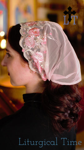 Mantilla Veil Headcovering, Tichel HeadScarf, w Ties, for mass, communion, or prayer, in Pink & Ivory Lace, from Liturgical Time ~ SCT47
