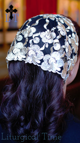 Catholic Mantilla - SCT49 - Embroidered Gold Floral on Black Net Christian Head Covering Headband Headscarf with Ties