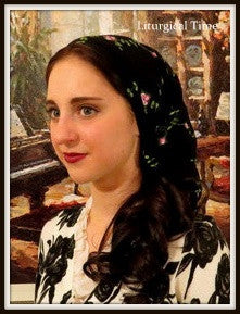 Christian Headcovering  - Headscarf with Ties - Stretch lace - in Black with Embroidered Pink Flowers - SCT4