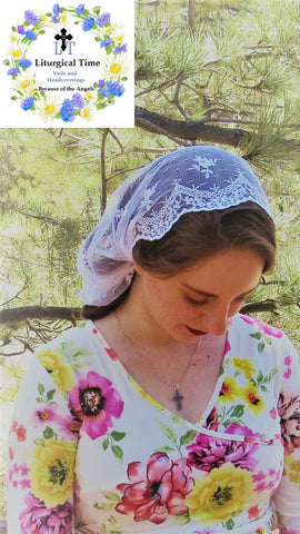 Christian Catholic Mantilla - Ivory Communion Veil Chapel Veil Headcovering Headscarf Mantilla Mass Veil by Liturgical Time ~SCT51