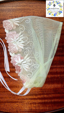 Lace Veil Mantilla Headcovering Modest Wrap - Embroidered Pale Mint Lace Headcovering Chapel Veil Headscarf Tichel w Ties SCT48
