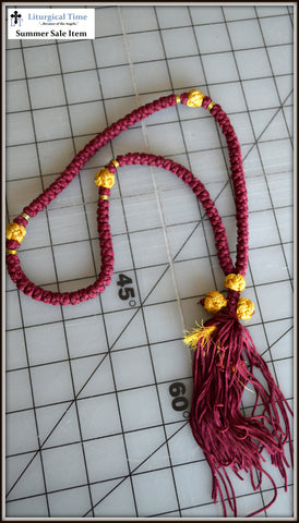 Clearance Chotki ~ 100 Knot Flush Red & Gold Prayer Rope ~ From Greece - SMSL16