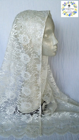 50% off Summer Sale Item ~  Chapel Veil ~ Rectangular headcovering in Ivory Windsor Lace~ SMSL18005