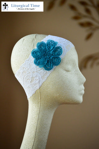 50% off Summer Sale Item ~  Lace Headband Covering with Blue Flower~  SMSL17