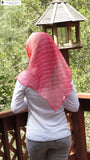 Sheer Triangular Headscarf Headcovering in Pink