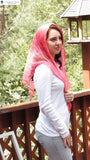 Head Covering THS4 - Sheer Triangular Headscarf Headcovering in Pink
