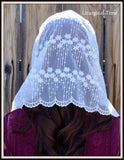 Women's Chapel Veil HeadcoveringsInfinity scarf inspired lace chapel veil mantilla Christian headcovering for church, prayer