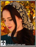 Head Cover - SCT25 - Christian Headcovering Headband Headscarf with Ties in Textured Black and Smoke