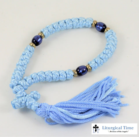 Orthodox Prayer Rope ~ 35 Knot Blue Prayer Rope ~ From Greece - PR4bu