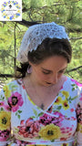 Chapel Veil | Mantilla |  Lovely High-Quality Ivory Lace with Velvet Ties |  SCT53 by Liturgical Time