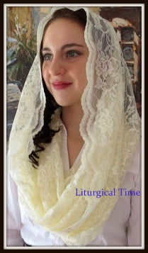 Religious Head Coverings EV1VB - Eternity Veil Headcovering - The Infinity Chapel Veil Original, , in Vanilla Bean