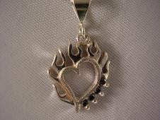 Flaming Heart with Black Diamonds | Jewelry