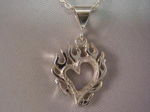 Flaming Heart pendant | Automotive Jewelry