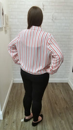 Dex plus red and white long sleeve button down top with tie in front