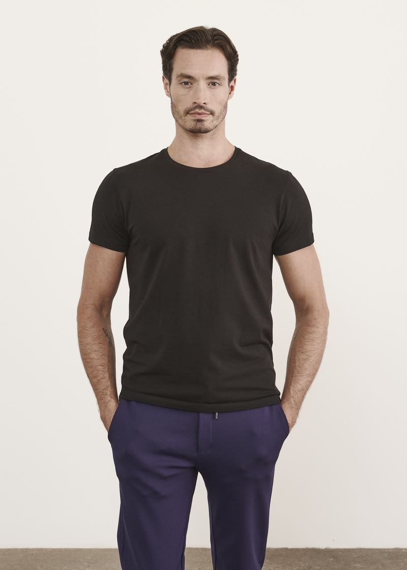 PATRICK ASSARAF ICONIC PIMA COTTON STRETCH T-SHIRT - Black